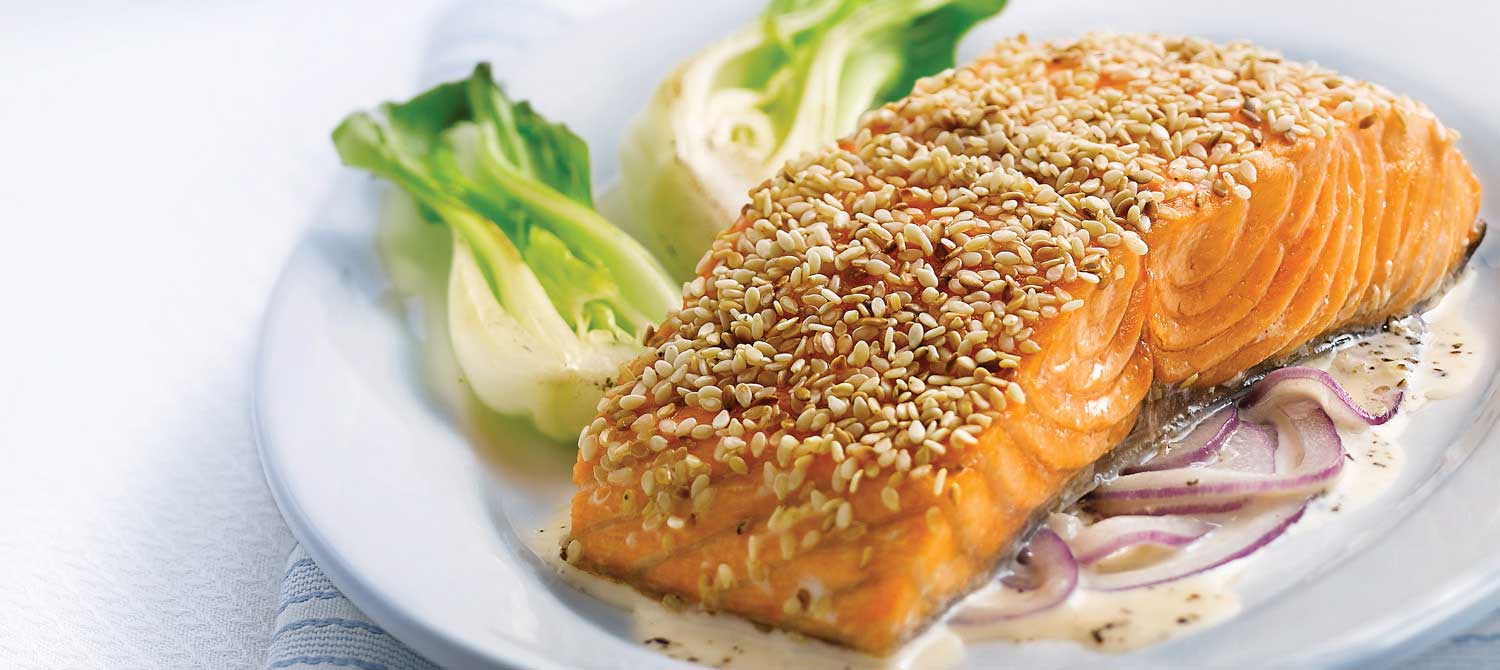 Sesame Salmon Fillets with Red Onion and Ginger Cream recipe | Dairy ...