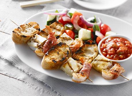 Shrimp and Brie Cheese Brochettes Recipe