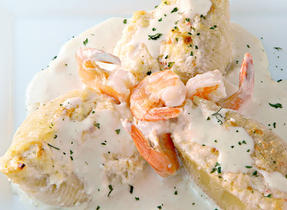 Shrimp & Crab Stuffed Shells in Garlic Cream Sauce