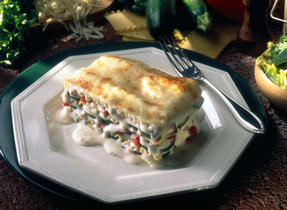 Shrimp Lasagna with Whipped Canadian Brie and Tarragon Sauce