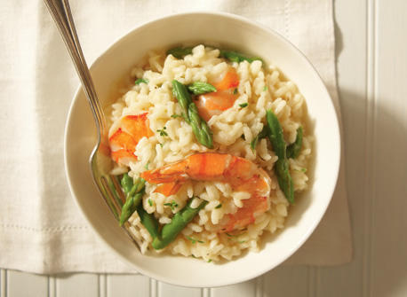 Simple risotto with shrimp, asparagus and Aged Cheddar recipe | Dairy ...