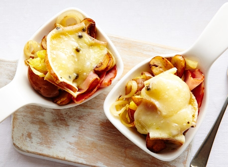 Smashed potatoes with ham & Raclette cheese Recipe