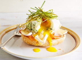 Smoked salmon & Brie eggs Benedict