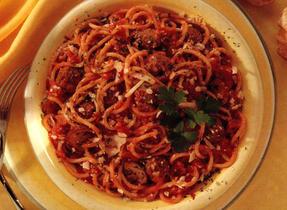 Spaghetti with Mini Meatballs and Mushrooms