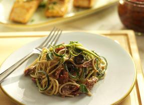 Spaghetti with Zucchini, Sundried Tomatoes and Yogurt