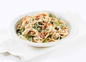 Spaghettini with Pancetta, Fennel and Arugula