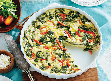 Spinach & Roasted Red Pepper Crustless Quiche Recipe