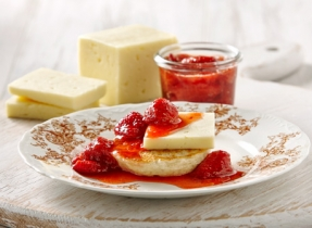 Strawberry jam with Canadian Havarti
