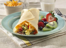 Stuffed Crepes with Eggs, Cheddar, Ham and Veggies