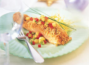 Swiss-Crusted Salmon Fillets with Pineapple Salsa