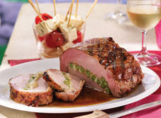 Swiss-stuffed grilled pork roast