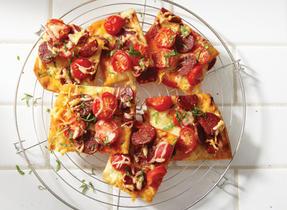 Tapas-Style Pizza with Chorizo and Gouda