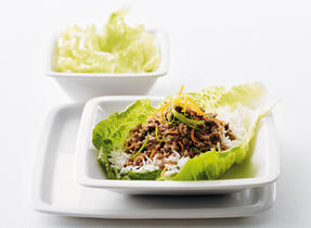 Teriyaki Beef on Lettuce and Rice