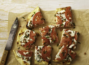 Tomato and Ricotta open-face sandwich