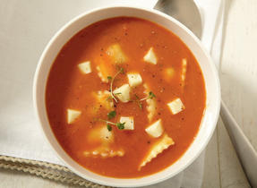 Tomato, Ravioli and Havarti Soup