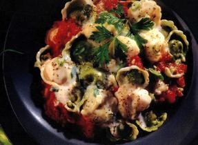 Tortellini with Tomato & Parmesan Mushroom Sauce