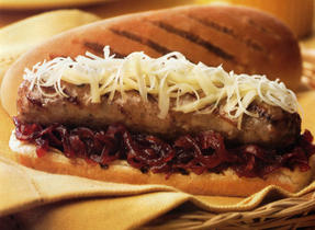 Toulouse Sausage with Onion Jam and Gouda