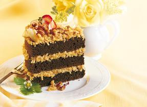Triple Layer German Chocolate Cake with California Walnuts