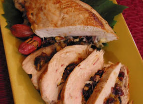 Turkey Breast Stuffed with Cranberries and Nuts, with Rougette de Brigham Cheese