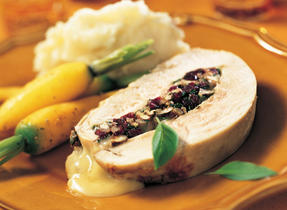 Turkey Breast Stuffed with Madame Clément Camembert, Cranberries and Pecans