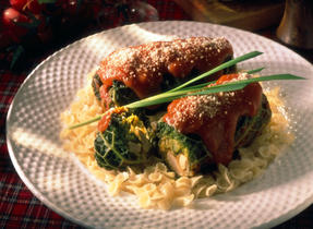 Turkey Cabbage Rolls with Zucchini
