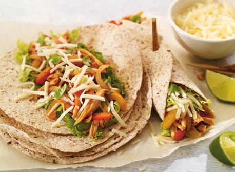 Turkey, orange and Monterey Jack fajitas  Recipe