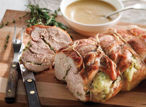Turkey Roast Stuffed with Herb Pesto and Miranda Cheese