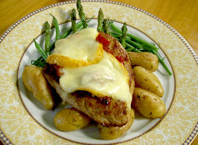 Veal Cutlets with Sun-Dried Tomatoes and Melting Mamirolle Cheese