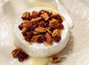 Warm Brie with dried cranberries