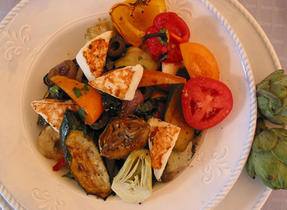 Warm Salad of Grilled Vegetables, Artichokes and Le Douanier Cheese