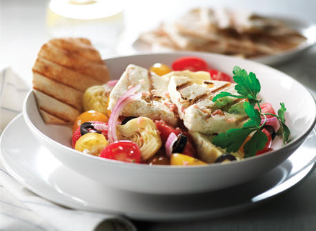 Warm Salad with Grilled Canadian Feta, Mediterranean Style Recipe