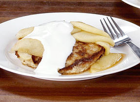 Whole Grain Pancakes with Apple Compote and Yogurt