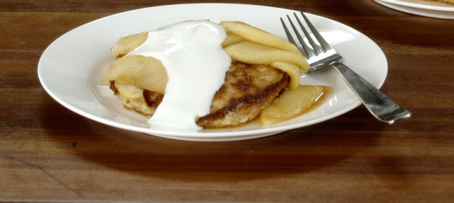 Whole Grain Pancakes with Apple Compote and Yogurt recipe | Dairy ...