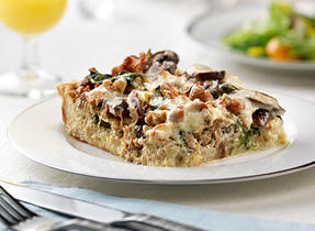 Wild Mushroom, Sausage and Spinach Strata