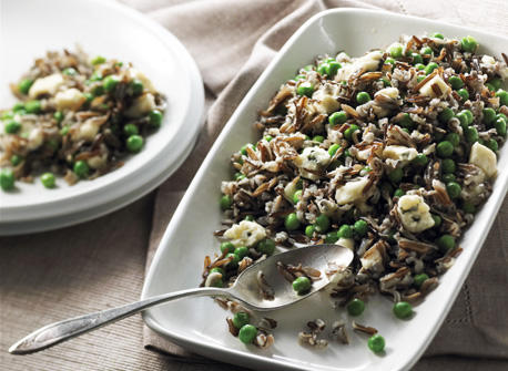 Wild Rice with Canadian Brie, Blue Cheese and Peas Recipe
