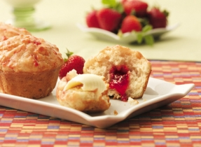 Yogurt Strawberry Jam-Jam Muffins