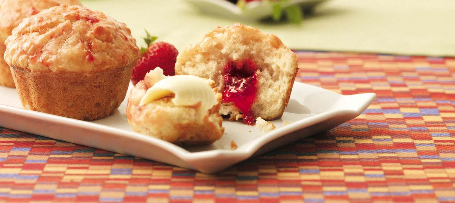 Yogurt Strawberry Jam-Jam Muffins recipe | Dairy Goodness