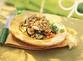 Zucchini, Corn and Red Pepper with Crispy Pesto Topping