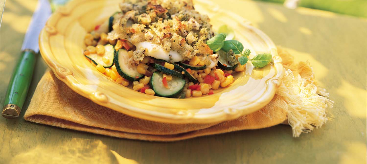 Zucchini, Corn and Red Pepper with Crispy Pesto Topping recipe | Dairy ...
