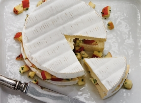 Brie stuffed with apple and chives
