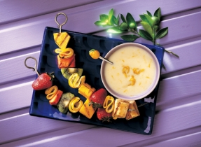 Grilled Fruit Kebabs with Tangy Lemon Yogurt Sauce