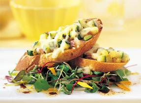 Zucchini Bruschetta with Canadian Swiss Cheese