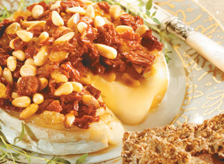 Baked Camembert with Pine Nuts & Sun Dried Tomatoes Recipe