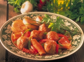 Italian Casserole with Bell Peppers and Meatballs