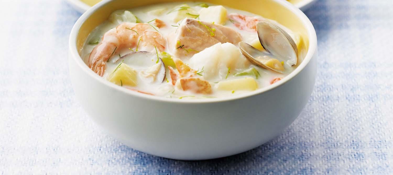 classic maritime seafood chowder recipe dairy goodness