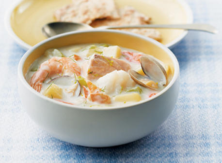 Classic maritime seafood chowder recipe dairy goodness for Fish and shrimp soup