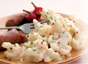 Cauliflower with Zesty Cheese Sauce (Cooking Club Size)