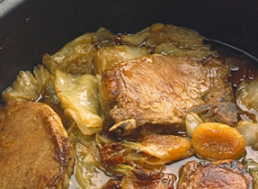 Braised Pork Chops with Cabbage and Dried Apricots