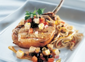 Grilled Pork Chops and Zesty Sauce Vierge with Feta