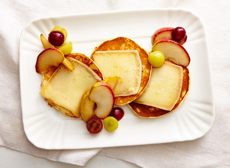 Raclette cheese pancakes with fruit Recipe